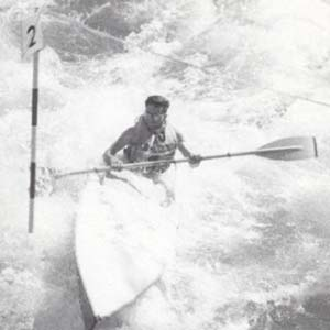 "Chilliwack Progress Press Photograph: ""Kayaker Gerry Storch at third annual B.C. Kayak and Canoe Club international slalom on Chilliwack River,"" April 7, 1961. [1999.029.008.012]"